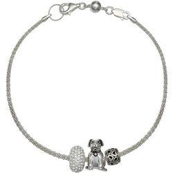 Genuine Sterling Silver Family Dog Slider Bead Bracelet