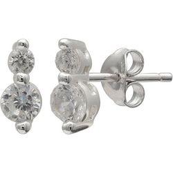 Silver Brilliance Double CZ Stud Earrings