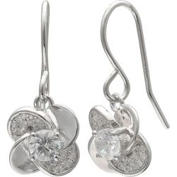 Silver Brilliance Pinwheel Dangle Earrings
