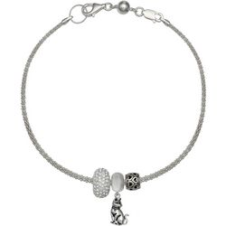 Genuine Sterling Silver Cat Rhinestone Charm Bracelet