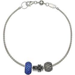 Genuine Sterling Silver Sideways Cross Charm Bracelet