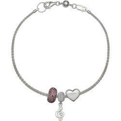 Genuine Sterling Silver Music Note Charm Bracelet