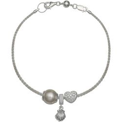 Genuine Sterling Silver Seashell Heart Charm Bracelet