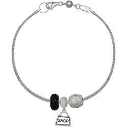 Genuine Sterling Silver Shopping Bag Charm Bracelet