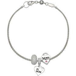 Genuine Sterling Silver Heart #1 Mom Charm Bracelet