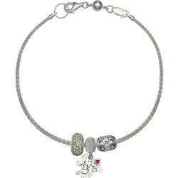 Genuine Sterling Silver I Love You Charm Bracelet