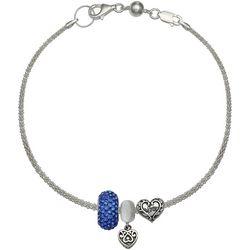 Genuine Sterling Silver Love Heart Charm Bracelet