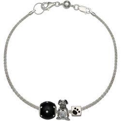 Genuine Sterling Silver Woof Dog Charm Bracelet