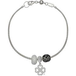 Genuine Sterling Silver Lucky Clover Charm Bracelet