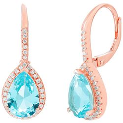Signature Blue Topaz Teardrop & Rose Gold Tone Earrings