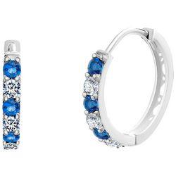 Signature Blue & Clear CZ Huggie Hoop Earrings