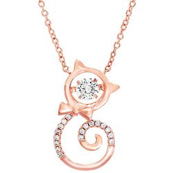 Signature Rose Gold Tone & Cat Pendant Necklace