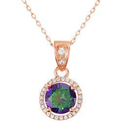 Signature Mystic Topaz Round Halo Pendant Necklace