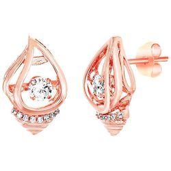 Signature Rose Gold Tone Shell Stud Earrings