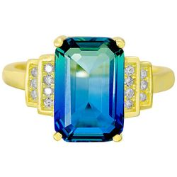 Signature Blue & Clear Cubic Zirconia Ring