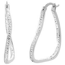 Guiliana Crystal Elements Wavy Platinum Plated Hoop Earrings