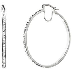 Guiliana Crystal Elements & Platinum Plated Hoop Earrings