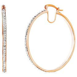 Guiliana Crystal Elements Rose Gold Tone Thin Hoop Earrings
