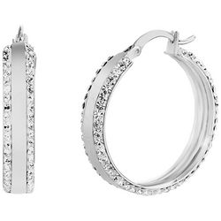 Guiliana 30mm Platinum Plated Crystal Elements Hoop Earrings