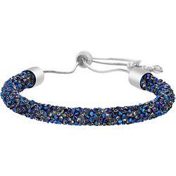 Crystal Energy Blue & Silver Tone Slider Bracelet
