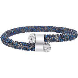 Crystal Energy Blue & Silver Tone Cuff Bracelet