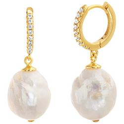 Paige Harper Gold Pearl Drop Crystal Hoop Huggie Earrings