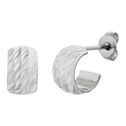 Paige Harper Silver Plated Textured Half Hoop Earrings