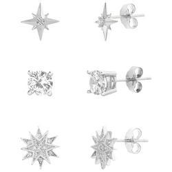 3 Pc. Silver Crystal Celestial Stud Earring Set