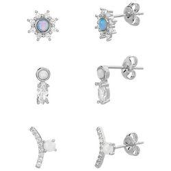 Paige Harper 3-pc. Opal Silver Plated Earring Set