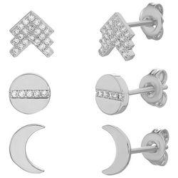 Paige Harper 3 Pc. Silver & Crystal Moon Stud Earring Set