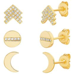 Paige Harper 3 Pc. Gold & Crystal Moon Stud Earring Set