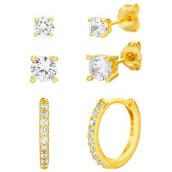 Paige Harper 3 Pc. Gold With Crystal Hoop & Stud Earring Set