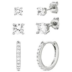 Paige Harper 3 Pc. Silver Crystal Hoop & Stud Earring Set