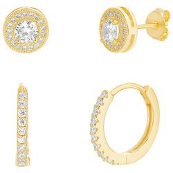 Paige Harper 2 Pc. Gold With Crystal Hoop & Stud Earring Set