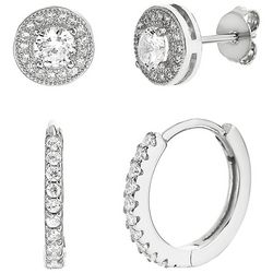 Paige Harper 2 Pc. Silver Crystal Hoop & Stud Earring Set