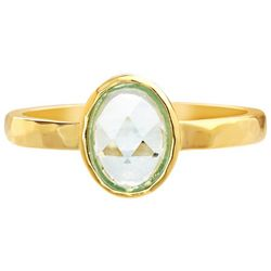 Paige Harper Faceted Glass Oval Gold Plated Hammered Ring