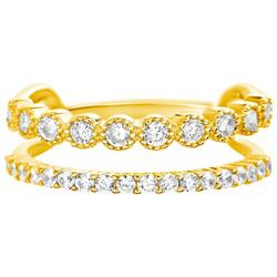 CZ Gold Plated Double Ring