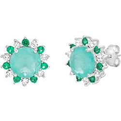 Signature Multi Green Halo Floral Stud Earrings
