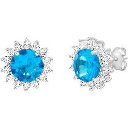 Signature Aqua & Clear CZ Halo Floral Stud Earring
