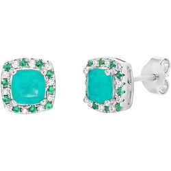 Signature Green Multi Square Halo Stud Earrings