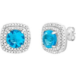 Signature Aqua Square Halo Stud Earrings