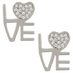 Signature Sterling Silver Love Stud Earrings