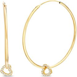Signature 18K Gold Plated Heart Charm Hoop Earrings