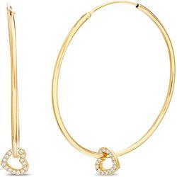Signature 18K Gold Plated Heart Charm Hoop Earrings