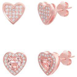Signature 2-pc. Rose Gold Tone Heart Stud Earring Set