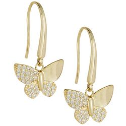 Signature Gold Plated Butterfly Drop Earrings