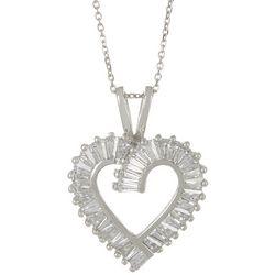 Signature CZ Open Heart Pendant Necklace