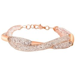 Crystal Energy Rose Gold Tone Twist Bracelet