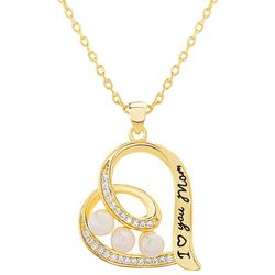 Signature Gold Tone I Heart You Mom Pendant Necklace