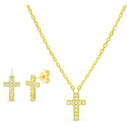 Aldona B Gold Plated Cross Necklace & Earring Set